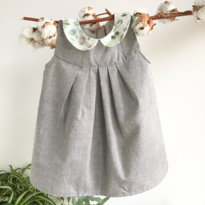 Abito cerimonia bambina grigio in cotone biologico