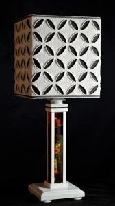 Lampada da tavolo artigianale moderna CRONO in legno e vetro artistico
