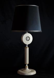 Lampada da tavolo artigianale contemporanea DISCO SFERA in legno  e metallo