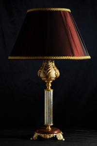 Lampada da tavolo artigianale classica PROMETEO in legno e base in Kevazingo