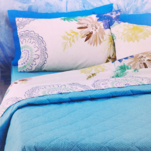 Set lenzuola matrimoniali 2 piazze BASSETTI Life Loja v.3 fiori blu