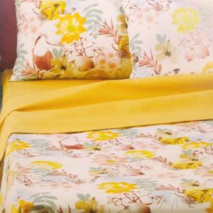 Set lenzuola matrimoniale BASSETTI Life Bogotà v.5 floreale effetto copriletto