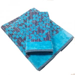 Coppia di asciugamani in spugna Carrara MARGO' turchese