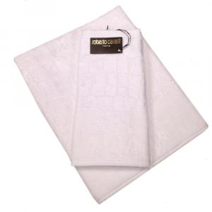 Roberto Cavalli set 1+1 asciugamano e ospite in spugan COCCO bianco