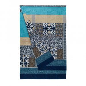 Bassetti Granfoulard telo arredo EBANO 3 blu puro cotone - 180x270 cm