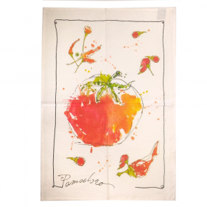 Strofinaccio da cucina Tessitura Toscana WOK pomodoro puro lino