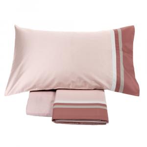 FAZZINI completo lenzuola Maxi matrimoniale KUBRIC rosa raso di cotone