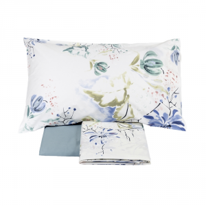 FAZZINI completo lenzuola Maxi matrimoniale LOTUS percalle floreale azzurro