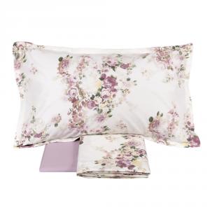 FAZZINI completo lenzuola Maxi matrimoniale POGGIO percalle floreale rosa
