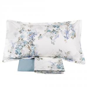 FAZZINI completo lenzuola Maxi matrimoniale POGGIO percalle floreale azzurro