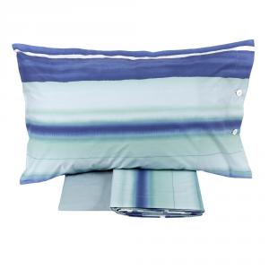 FAZZINI completo lenzuola Maxi matrimoniale LED percalle righe azzurro
