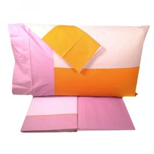 FAZZINI completo lenzuola Maxi matrimoniale TALETE percalle rosa