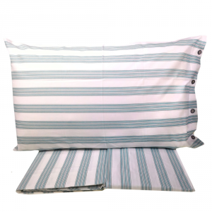 FAZZINI set lenzuola singole una piazza RELAX righe azzurre puro cotone