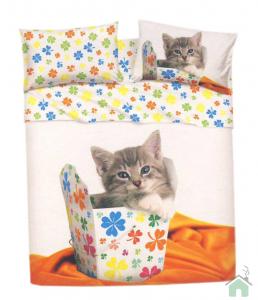 Set lenzuola Bassetti Lucky cat per letto piazza e mezza Gatto in scatola