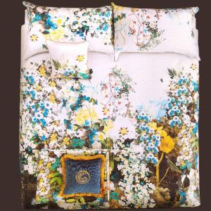 Roberto Cavalli set copripiumino matrimoniale 2 piazze FLONARURE raso di cotone