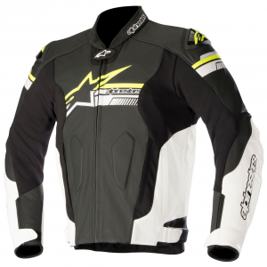 GIACCA MOTO IN PELLE ALPINESTARS FUJI BLACK WHITE YELLOW FLUO