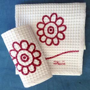Asciugamani nido d'ape stampati a mano