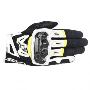 GUANTI MOTO IN PELLE ALPINESTARS SMX-2 AIR CARBON V2 GLOVE BLACK WHITE YELLOW FLUO cod.3567717