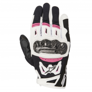 GUANTI MOTO DONNA IN PELLE ALPINESTARS STELLA SMX-2 AIR CARBON V2 GLOVE BLACK WHITE FUCHSIA