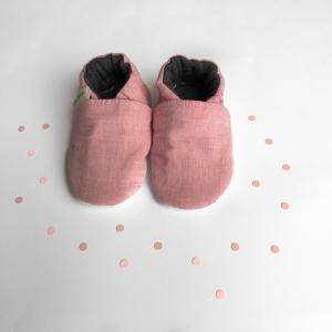 Scarpine antiscivolo jeans rosa in cotone biologico