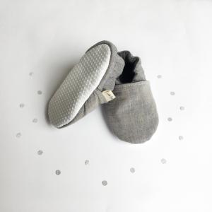 Scarpine antiscivolo jeans grigio in cotone biologico