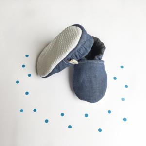 Scarpine antiscivolo jeans blu in cotone biologico