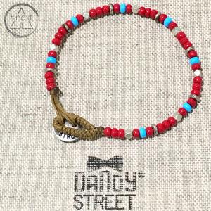 Dandy Street - Bracciale etnico perline vetro chiusura bottone. Rosso