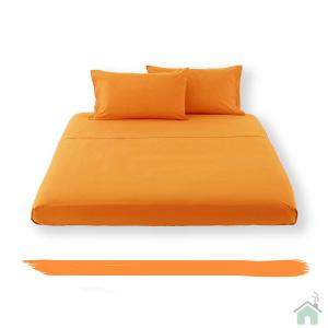 Happidea lenzuolo sotto con angoli singolo 1 piazza - arancio
