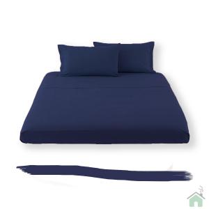 Happidea lenzuolo sotto con angoli singolo 1 piazza - blu navy