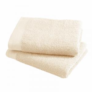 Asciugamani Happidea set 1+1 viso e mani, bagno piscina arredo vaniglia