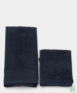 Asciugamani Happidea set 1+1 viso e mani, bagno piscina blu notte