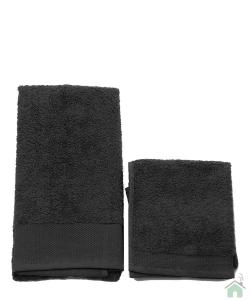 Asciugamani Happidea set 1+1 viso e mani, bagno piscina arredo nero