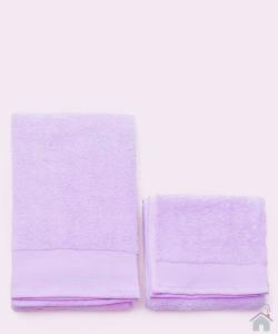 Asciugamani Happidea set 1+1 viso e mani, bagno piscina arredo lilla crocus