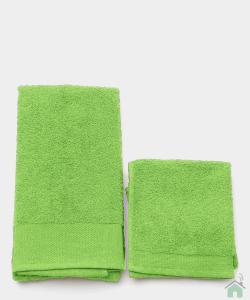 Asciugamani Happidea set 1+1 viso e mani, bagno piscina arredo VERDE