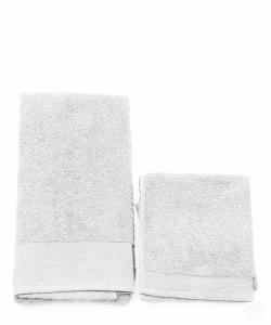 Asciugamani Happidea set 1+1 viso e mani, bagno piscina arredo bianco