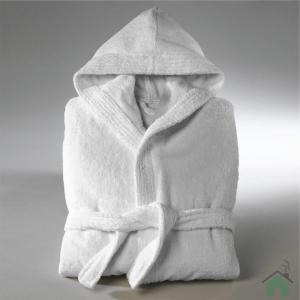 Accappatoio con cappuccio in Spugna di puro cotone Happidea, vari colori, UNISEX - L bianco