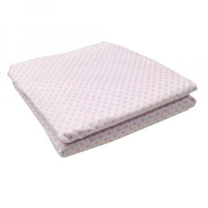 Lenzuola Matrimoniale puro cotone sotto con angoli ISTAR Maxi materassi misura grande - pois rosa