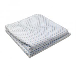 Lenzuola Matrimoniale puro cotone sotto con angoli ISTAR Maxi materassi misura grande - pois blu