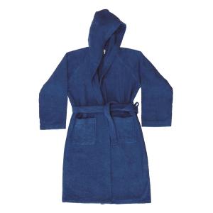 Accappatoio con cappuccio in Spugna di puro cotone Bassetti  TIME, vari colori, UNISEX-Blu Navy-M