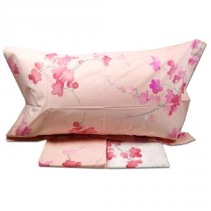 Set lenzuola matrimoniale 2 piazze MIRABELLO percalle PESCO IN FIORE - rosa