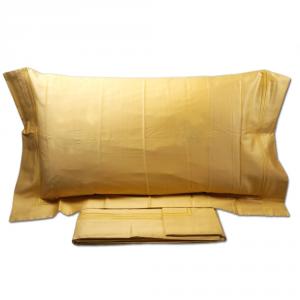 Set lenzuola matrimoniale 2 piazze REBECCA HOME ANGIE raso di cotone - oro