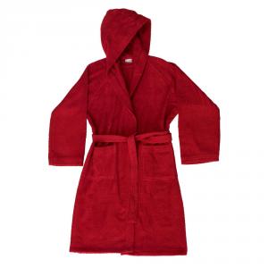 Accappatoio con cappuccio in Spugna di puro cotone Bassetti  TIME, vari colori, UNISEX - Rosso carminio-L