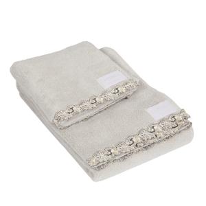 Set asciugamani La Perla con pizzo ricamato Petit maison microspugna - grigio