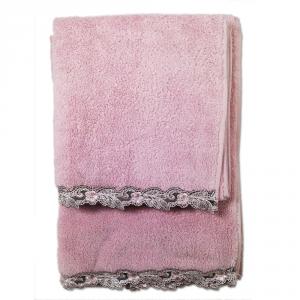 Set asciugamani La Perla con pizzo ricamato Petit maison microspugna - rosa