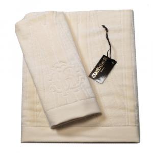 Roberto Cavalli set 1+1 asciugamano e ospite DECO' spugna di puro cotone - avorio