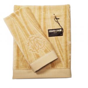 Roberto Cavalli set 1+1 asciugamano e ospite DECO' spugna di puro cotone - sabbia