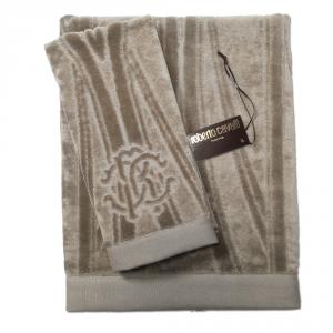 Roberto Cavalli set 1+1 asciugamano e ospite DECO' spugna di puro cotone - grigio