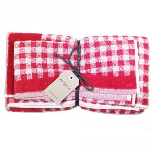 FAZZINI set 1+1 asciugamano e ospite SCOTLAND 100% spugna - rosso
