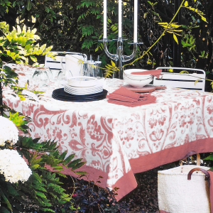 Fazzini tovaglia in cotone TERESA rosa - misura 150x150 cm