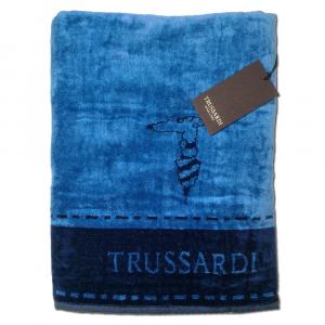Trussardi telo da bagno in spugna 95x150 BORDER STITCH blu